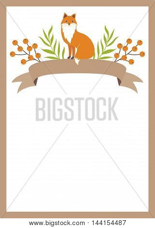 Vector woodland card with ribbons, fox and berries
