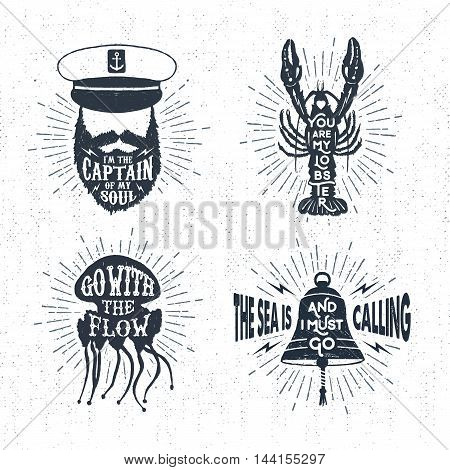 Hand drawn textured vintage labels set with captain lobster jellyfish bell vector illustrations and inspirational lettering.
