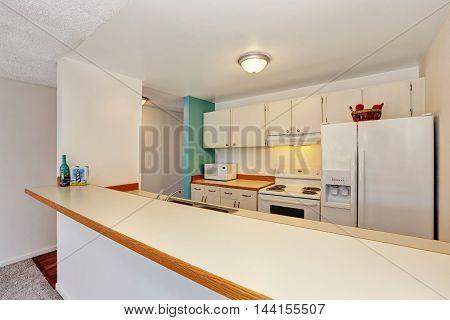 Old Fashioned Kitchen Interior Of American Apartment Condominium.
