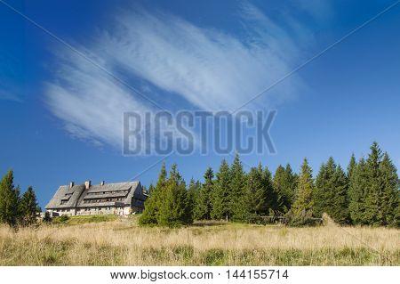 Poland Gorce Mountains Mountain Hut at Turbacz mountain 1310 m sunlit