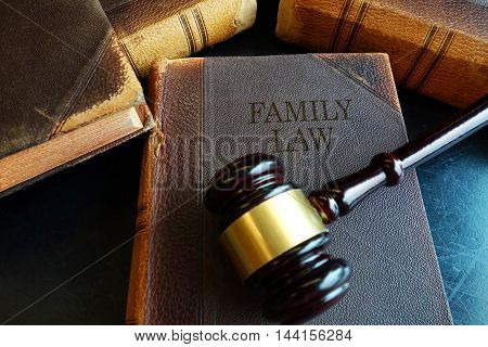 Family Law book with a legal gavel