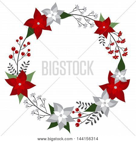 Vector Christmas wreath with poinsettia and berries