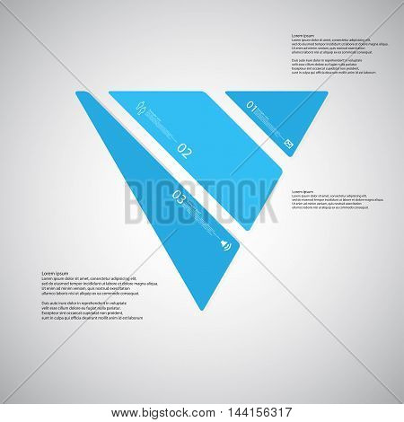 Triangle Illustration Template Consists Of Three Blue Parts On Light Background