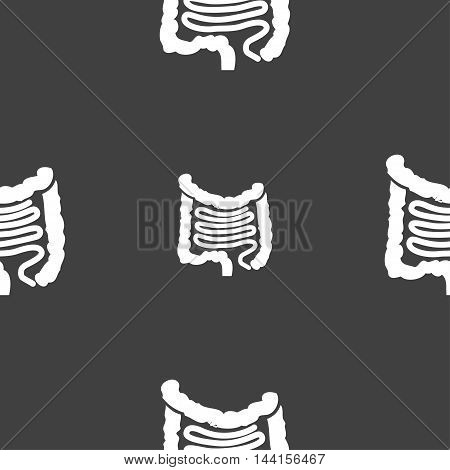 Intestines Sign. Seamless Pattern On A Gray Background. Vector