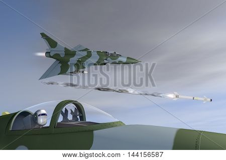 Future war robots and jet fighter(3d rendering)