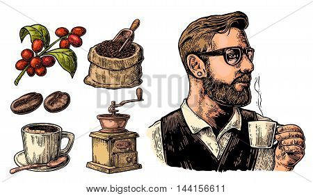 Hipster barista holding a cup of hot coffee. Sack with coffee beans with wooden scoop and beans cup branch with leaf and berry. Vintage color vector engraving illustration. Isolated on white background.