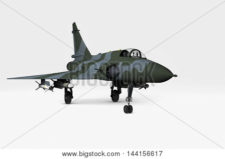 A modern fighter jet with white background(3d rendering)