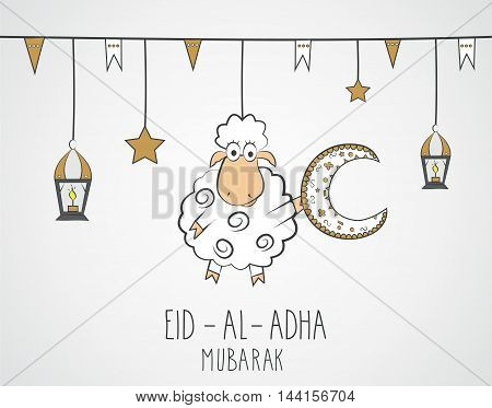 Eid Al Adha mubarak. Hand drawn poster with hanging sheep, lantern and star. Vector illustration.
