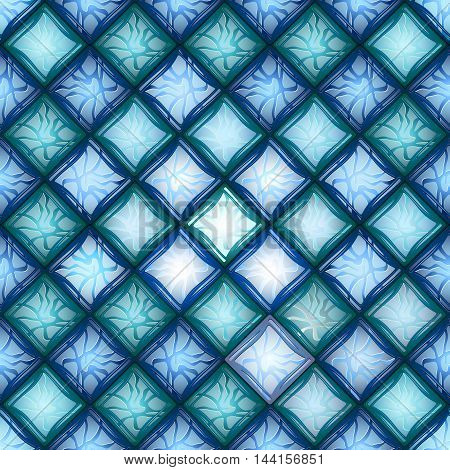 Vector seamless pattern. Background openwork blue glass.