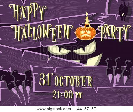 Halloween banner: monster with scary face broken wooden wall from boards and looks out of the darkness. Vector illustration in cartoon style. Concept design poster invite or ticket on holiday party.