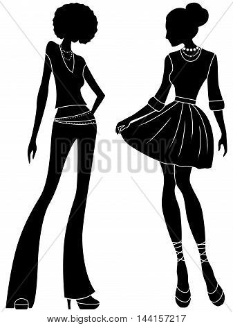 Abstract Attractive Ladies Silhouettes