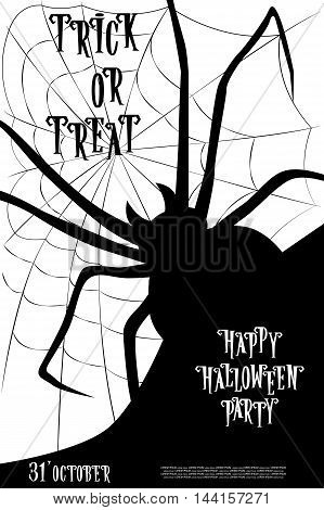 Halloween background on holiday party trick or treat with monster spider on web. Letters in retro cartoon style. Vector illustration