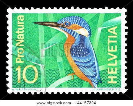 SWITZERLAND - CIRCA 1966 : Cancelled postage stamp printed by Switzerland, that shows European kingfisher.