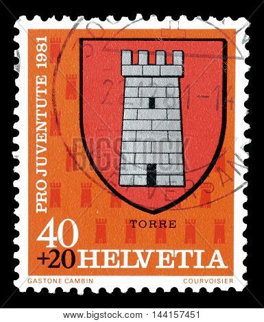 SWITZERLAND - CIRCA 1981 : Cancelled postage stamp printed by Switzerland, that shows Coat of arms of Torre.