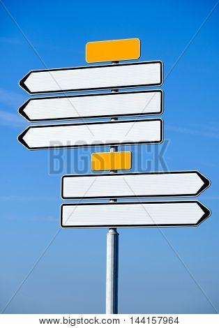 Empty navigation arrows road sign
