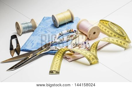 Measuring tape, fabrics and other sewing tools