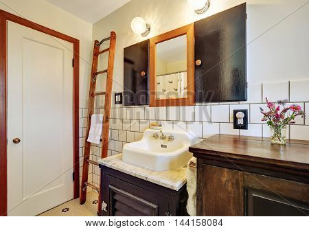 Old Style Bathroom Interior With Vintage Washbasin
