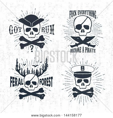 Hand drawn textured vintage labels set with pirate skulls vector illustrations and inspirational lettering.