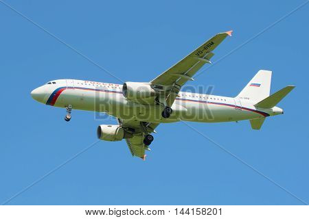 ST. PETERSBURG, RUSSIA - JUNE 29, 2015: Airbus A320-214 (VQ-BBM) of the airline