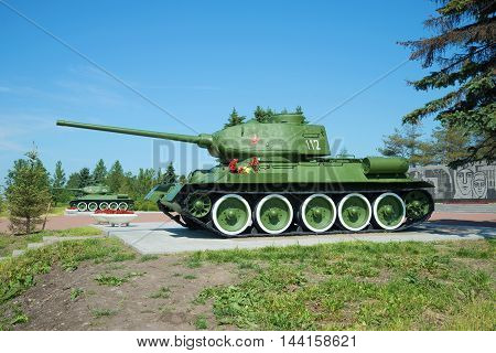 ST. PETERSBURG, RUSSIA - JUNE 29, 2015: Two Soviet tank T-34-85 installed at the memorial