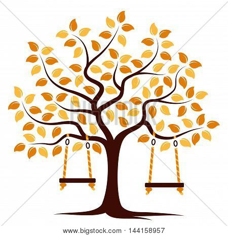 vector autumn tree with swings isolated on white background