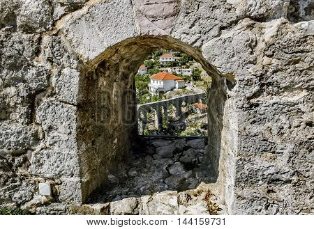 June 4 2015.Bar. Montenegro. Aqueduct in old city of Bar. Montenegro.
