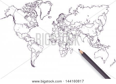 Colored pencil world map illustration