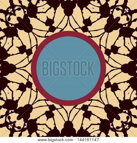 Mandala stylized Print with frame for text. Islamic, Arabic, Asian motif.