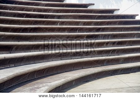 Stairs Architecture background. flat and circular staircase that surrounds a large area