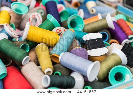 The colorful of threads backgrounds.multicolor threads group