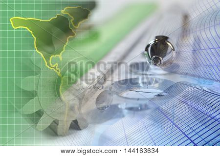 Financial background with map ruler buildings and pen.