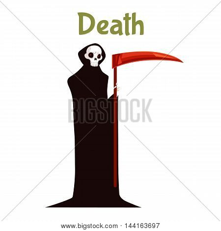Death with scythe costume for Halloween, cartoon style vector illustration isolated on white background. Spooky death fancy dress idea for Halloween, traditional symbol of Halloween