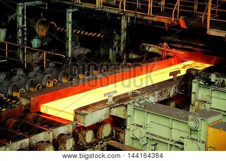 Melting steel workshop at the heavy industries plant stock image
