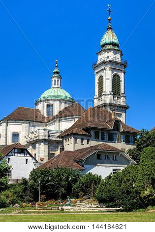 Solothurn, Switzerland - 10 July, 2016: the St. Ursus Cathedral. The St. Ursus Cathedral also called Cathedral of St. Ursus or Solothurn Cathedral is a Swiss heritage site of national significance.