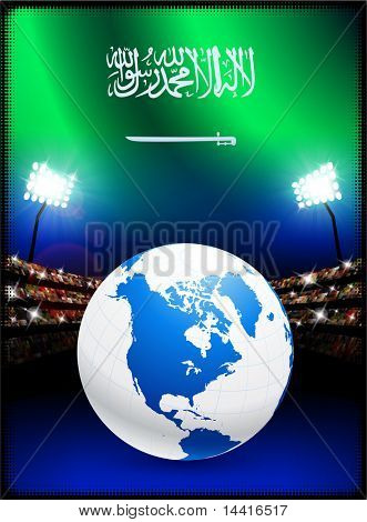 Saudi Arabia Flag with Globe on Stadium Background Original Illustration