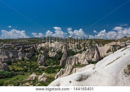 View on stone formations in Cappadocia Central Anatolia Turkey