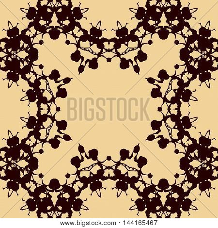 Print made of symmetrical blots seamless pattern