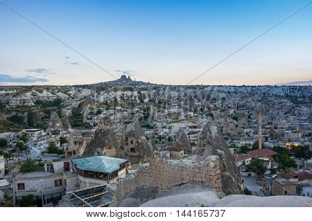 Goreme and Ushisar castle in Cappadocia Central AnatoliaTurkey