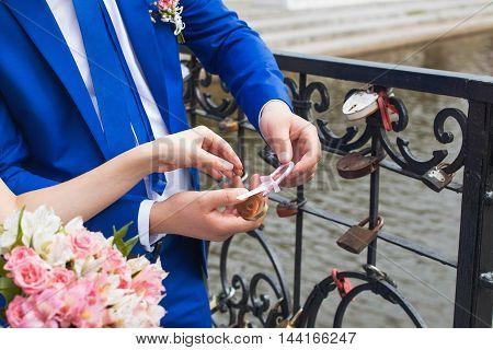 Love lock on a bridge in Paris.