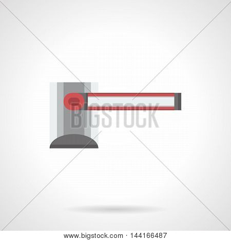 Simple closed way barrier. Road block equipment. Barricade and stoppers for parking, checkpoints, railway crossroad and other places. Traffic control theme. Flat color style vector icon.