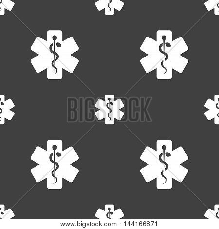 Medicine Sign. Seamless Pattern On A Gray Background. Vector