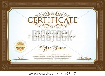 Certificate Or Diploma Retro Vintage Design Template 6.eps