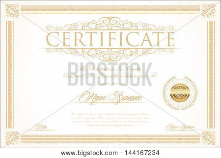 Certificate Or Diploma Retro Vintage Design Template 2.eps