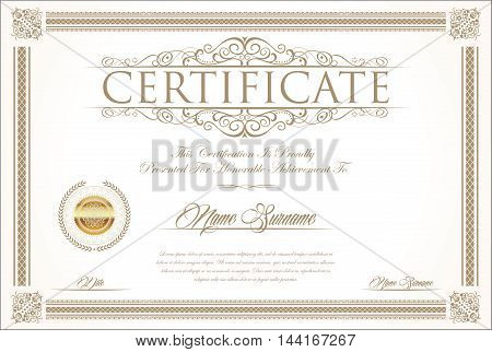 Certificate Or Diploma Retro Vintage Design Template.eps