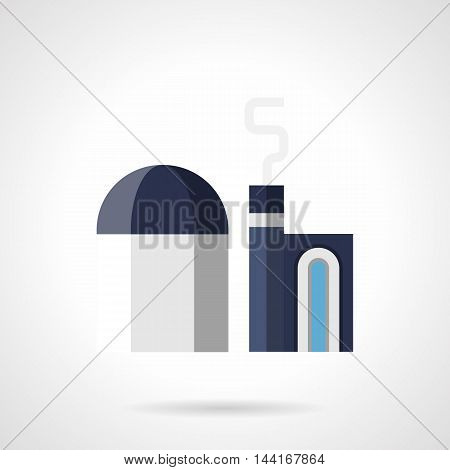 Industrial facilities and architecture. Blue and gray color factory of concrete production. Plant with domed warehouse. Flat style vector icon.