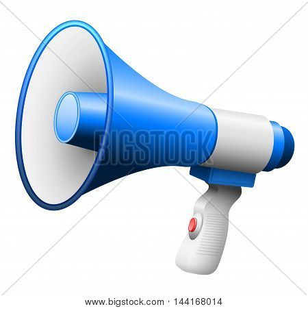 Megaphone or bullhorn with handle and button.