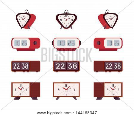 Set of retro alarm clocks isolated against the white background. Cartoon vector flat-style illustration