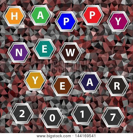 Multicolor low-poly vector background with text Happy New Year 2017