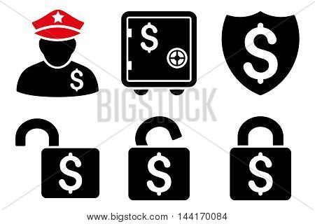 Financial Guard vector icons. Pictogram style is bicolor intensive red and black flat icons with rounded angles on a white background.