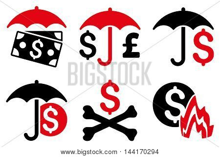 Financial Umbrella vector icons. Pictogram style is bicolor intensive red and black flat icons with rounded angles on a white background.